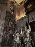 The tomb of Christopher Columbus in the Cathedral in Seville in Andalucia Spain. Cathedral of Seville. It is amongst the largest of all medieval and Gothic Royalty Free Stock Photo