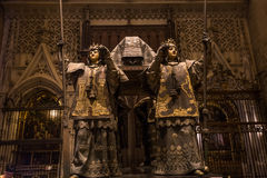 Tomb of christopher Columbus, Seville cathedral, Seville, spain. A view in SEVILLE, ANDALUSIA, SPAIN, MAY, 23, 2017 : Burial tomb of Christopher Columbus in stock photo