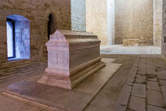 Tomb of Dom Alvaro Goncalves Pereira in the nave of the church of the Flor da Rosa Gothic Monastery. Crato, Portugal. February 26, 2015: Tomb of Dom Alvaro Stock Photography