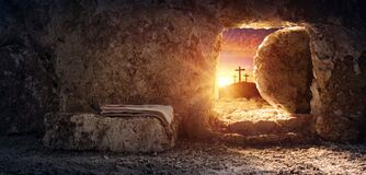 Free Tomb Empty With Shroud And Crucifixion At Sunrise Resurrection Stock Photos - 174548273