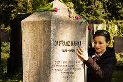 The tomb of Frank Kafka. The grave of Franz Kafka in the new Jewish cemetery in Prague. Kafka, one of the greatest literary figures of the twentieth century royalty free stock images