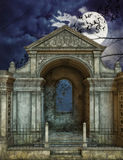 Tomb and full moon Royalty Free Stock Photos