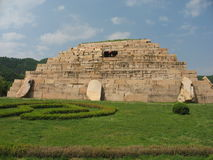 Tomb of General, Ancient Koguryo Kingdom. In the southwestern reaches of Jilin Province of China lies the small town of Ji an. Here, between the hills, can be Royalty Free Stock Photo