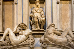 Tomb of Giuliano de Medici and sculptures `Night and Day`. Stock Photo