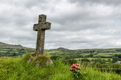 Tomb in a graveyard in a traditional village in Dartmoor, Devon, England royalty free stock photography