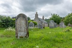 Tomb in a graveyard in a village in Dartmoor, Devon, England royalty free stock photography