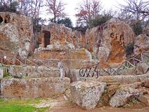 The Tomb of Ildebranda located at the Necropoli of Sovana. A winter view of the Tomb of Ildebranda at the Necropolis of Sovana in the region of Tuscany, Italy royalty free stock image