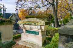 Tomb of La Fontaine in Pere Lachaise Cemetery Stock Photos
