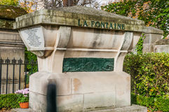 Tomb of La Fontaine in Pere Lachaise Cemetery Royalty Free Stock Photos