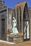 Tomb of Liliana Crociati de Szaszak in her wedding dress, with her dog Sabu, statue by Wifredo Viladich. Neo-gothic style royalty free stock photo