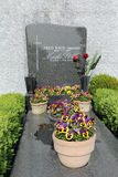 The tomb of Marika Rokk. BADEN, AUSTRIA - APRIL 29, 2011: Headstone grave of the famous singer Marika Rokk at the cemetery in the city of Baden Royalty Free Stock Photography