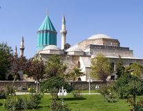 Tomb of Mevlana with prominent green tower in Konya, royalty free stock photo