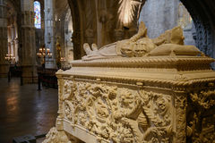 Tomb of navigator Vasco da Gama. The Jerónimos Monastery or Hieronymites Monastery is a monastery of the Order of Saint Jerome located near the shore of the Royalty Free Stock Image