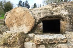 Christ`s tomb. A tomb near nazareth, Israel dates to the first century. Similar to Christ`s tomb with the stone rolled over the entry Royalty Free Stock Images