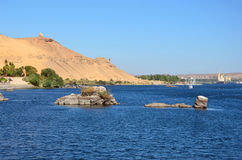 Tomb of the Nobles and Nile River Royalty Free Stock Images