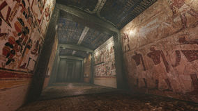 Tomb with old wallpaintings in ancient Egypt. A 3D rendered image of a tomb in ancient Egypt. A long marble corridor with old wall paintings, hieroglyphs and Royalty Free Stock Images
