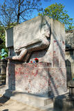 Tomb of Oscar Wilde. In the cemetery of Père Lachaise in Paris, France Royalty Free Stock Photography