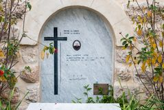 Tomb of Priest Giacomo Capra in Deir Rafat or Shrine of Our Lady Queen of Palestine - Catholic monastery in central Israel stock photo