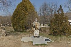 Tomb of prophet bulgarian Baba Vanga at Rupite her favourite place. Sculpture of  prophet bulgarian Baba Vanga in the Rupite her favourite place, Bulgaria Stock Photos