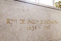 Tomb Queen Catherine Braganza Lisbon Royalty Free Stock Photos