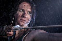 Tomb Raider. Portrait of woman, Lara Croft-like character. Royalty Free Stock Photography
