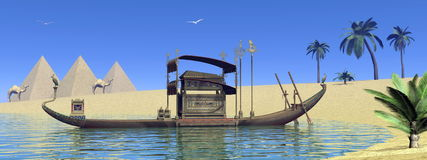 Tomb on sacred barge in Egypt - 3D render. Tomb on sacred barge floating on the water next to sand and pyramids in Egypt - 3D render Stock Photo