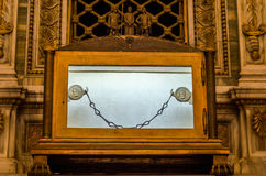 Tomb of the sarcophagus of the Apostle Paul, and nine of the chain links which was chained prisoner Paul in the catholic church ca. Thedral basilica of Saint royalty free stock photo