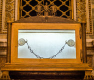Tomb of the sarcophagus of the Apostle Paul, and nine of the chain links which was chained prisoner Paul in the catholic church ca Stock Photos