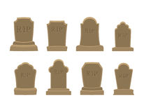 Tomb set. Ancient RIP. Collection of gravestones. Grave stone on Royalty Free Stock Photo