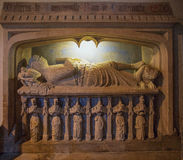 The tomb of Sir Walter de Dunstanville. Located in the church of St Andrew in Castle Combe village Wiltshire.  Sir Walter was an English knight who fought in Stock Image