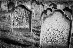 Tomb stones at Whitby cemetery during the night in North Yorkshire,UK. Its attraction as a tourist destination is enhanced by its Stock Image