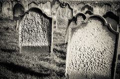 Tomb stones at Whitby cemetery during the night in North Yorkshire,UK. Its attraction as a tourist destination is enhanced by its Royalty Free Stock Photography