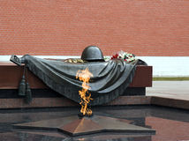 Tomb of the Unknown Soldier. With eternal flame near the Kremlin wall in Mocsow, Russia Stock Images