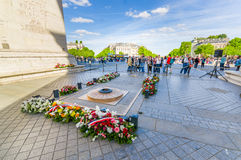 Tomb of the unknown soldier, Arc de Triomphe. PARIS, FRANCE - JUNE 1 , 2015: Tomb of the Unknown Soldier, Arc de Triomphe de l'Etoile, Triumphal Arc of the Star Stock Images