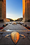 Tomb of the unknown soldier. Beautiful view from under the Arc de Triomphe in Paris, France, with the tomb of the unknown soldier Stock Image