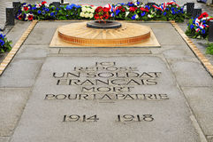 Tomb of the Unknown Soldier beneath the Arc de Triomphe, in Pari. The Tomb of the Unknown Soldier from World War I beneath the Arc de Triomphe, in Paris, France Stock Image