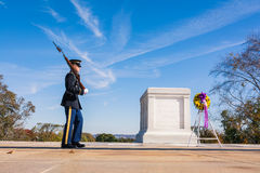 Tomb of the Unknown Soldier Closeup Patrol Guard November 2016 B. Lue Sky Royalty Free Stock Photography
