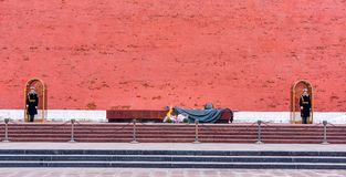 Tomb of the Unknown Soldier guarded by two honour guard soldiers at the Kremlin Wall royalty free stock photo