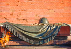 Tomb of the Unknown Soldier in Moscow. The Tomb of Unknown Soldier is architectural memorial ensemble in city of Moscow, near Kremlin walls, in Alexander Garden Stock Photo