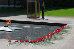 Tomb of the Unknown Soldier. MOSCOW - MAY 8: The leaderships of the Russian Federation laid flowers to the monument Tomb of the Unknown Soldier in Alexander Royalty Free Stock Image