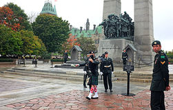 Tomb of the Unknown Soldier Ottawa. OTTAWA, SEP. 30: Ceremonial guards march by the Tomb of the Unknown Soldier at the National War Memorial in Ottawa, Canada on Stock Photography