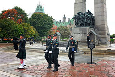 Tomb of the Unknown Soldier Ottawa. OTTAWA, SEP. 30: Ceremonial guards march by the Tomb of the Unknown Soldier at the National War Memorial in Ottawa, Canada on Stock Image