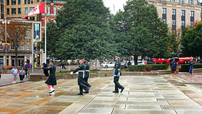 Tomb of the Unknown Soldier Ottawa. OTTAWA, SEP. 30: Ceremonial guards march by the Tomb of the Unknown Soldier at the National War Memorial in Ottawa, Canada on Royalty Free Stock Photos