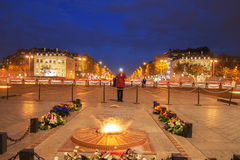 Tomb of unknown soldier on place Charles de Gaulle, Paris, Franc. Eternal flame on the tomb of unknown soldier, place Charles de Gaulle, Paris, France Stock Images