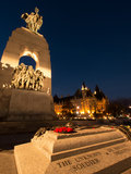 Tomb of the unknown soldier at twilight. A view of the tomb of the unknown soldier and the National War Memorial in Ottawa, Ontario, CAnada royalty free stock photo