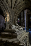 Tomb of Vasco da Gama in the Jeronimos monastery in Lisbon Royalty Free Stock Images