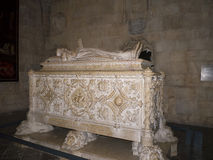 Tomb of Vasco De Gama in the Jeronimos Monastery  in Lisbon Portugal. The Jeronimos Monastery replaced the church formerly existing in the same place, which was Stock Photo
