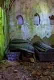 The tomb of the von Tesmar family. Borkowo Leborskie, Poland- 08 June 2014: The tomb of the von Tesmar family. Devastated cemetery chapel in the north of Poland stock image