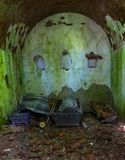 The tomb of the von Tesmar family. Borkowo Leborskie, Poland- 08 June 2014: The tomb of the von Tesmar family. Devastated cemetery chapel in the north of Poland stock images