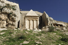 Tomb of Zechariah. Situated in the Kidron valley, Jerusalem, Israel.  According to tradition this is the tomb of the priest Zechariah Stock Image